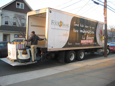 community food bank of new jersey truck picking up from turkeys from Heidi's Cottage Gift Store, Dunellen Middlesex County Gift Store.