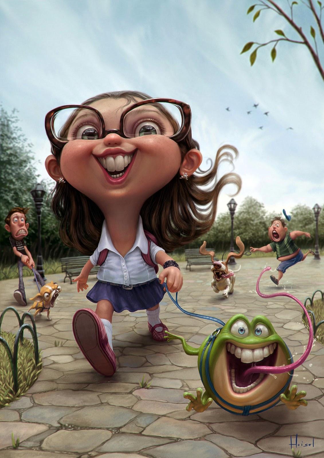 illustration de Tiago Hoisel représentant une petite fille promenant sa grenouille
