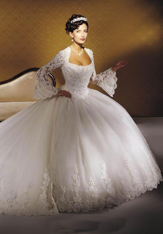 long-sleeve--ball-gown-wedding ... | Gowns Wallpaper
