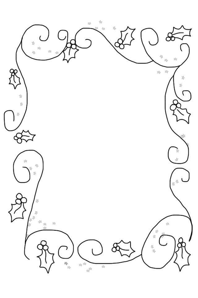 christmas holly border coloring pages - photo#6