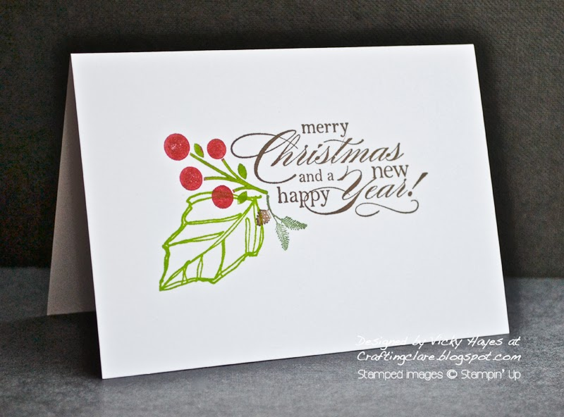 Crafting clare one layer Christmas card made with Joyful Christmas from Stampin' Up
