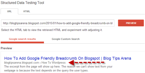 Google RichSnippet Blogspot Breadcrumb Preview