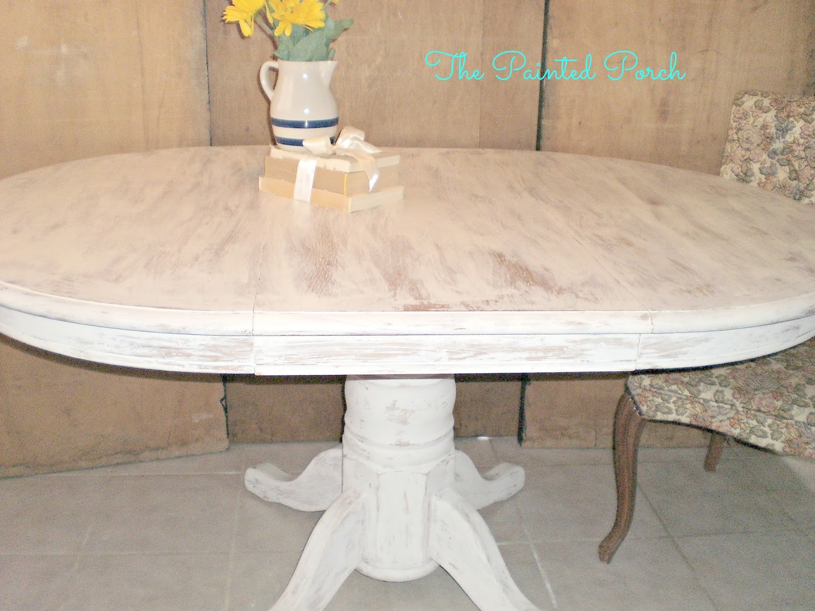 the painted porch blogspot white distressed kitchen table Table w dark weathered finish top white distressed Pedestal