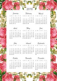 FREE printable 2018 Rose Calendar: