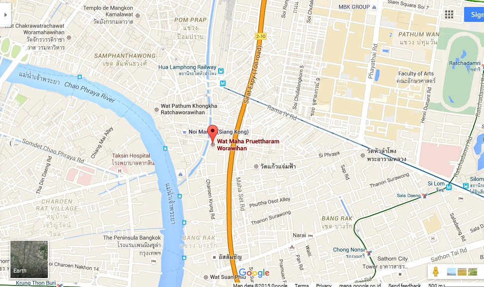 Maha Pruettharam Worawihan Temple Bangkok Map Tourist – Bangkok Tourist Attractions Map