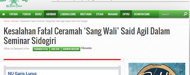 Gobloknya NUGL dalam Mengoreksi Ceramah KH Said Aqil Siradj