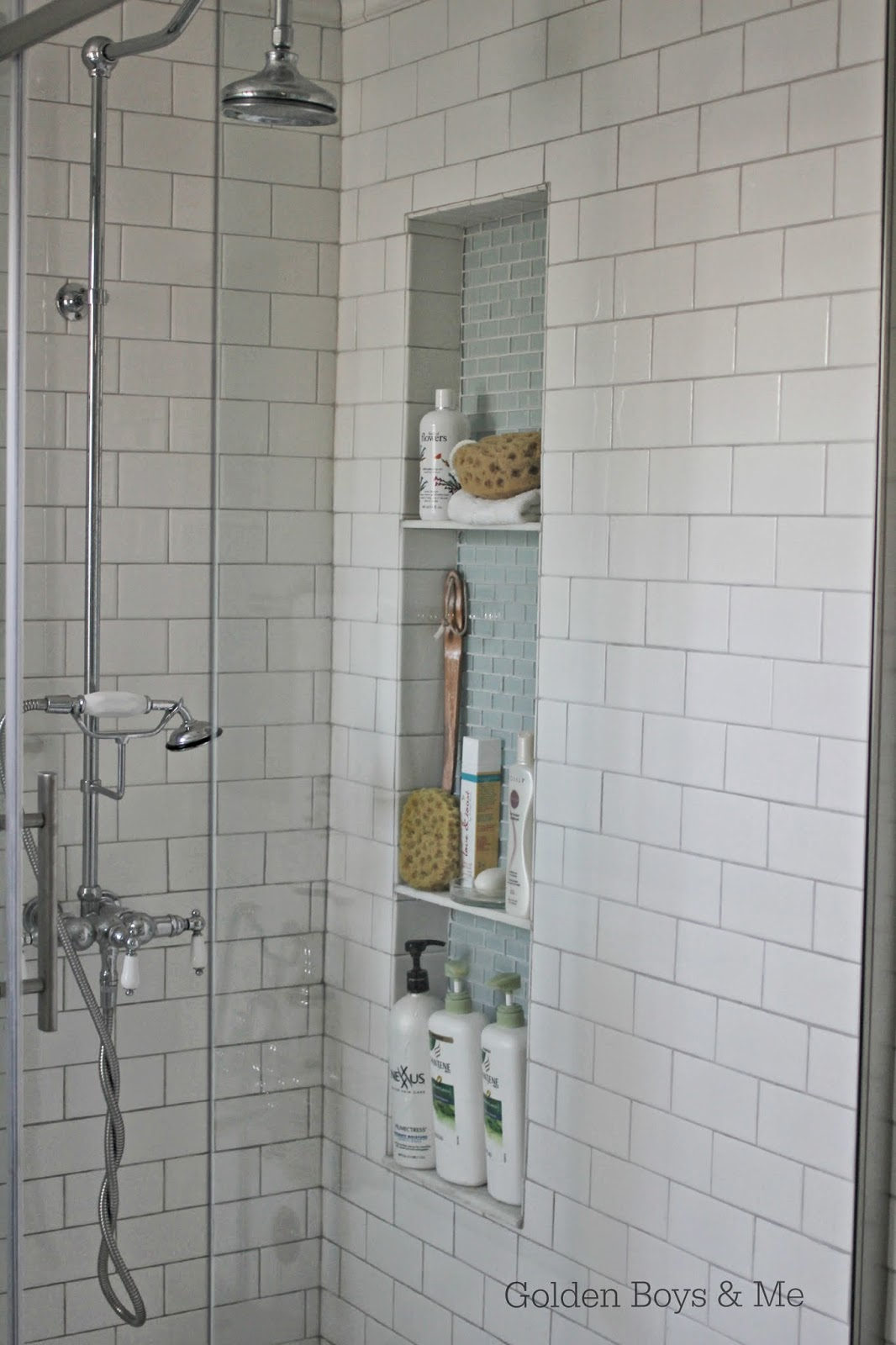 diy tall shower niche tutorial-www.goldenboysandme.com