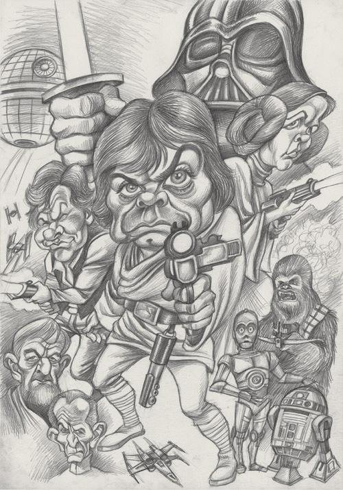 """Boceto a lápiz de """"Star Wars"""" por Joan Vizcarra"""
