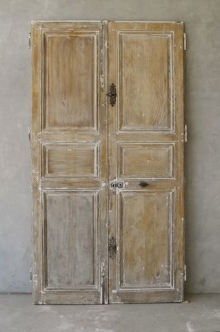 Pair 18th Century Oak Doors from a Village House near Tours, France via Chateau Domingue as seen on linenandlavender.net.net - http://www.linenandlavender.net/p/blog-page_9.html