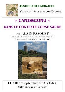 conférence sur les fouilles archéologiques de Monacia d'Aullène à la pointe de Canisgionu organisée par 'Associu d'i Monaci' et animée par Alain Pasquet
