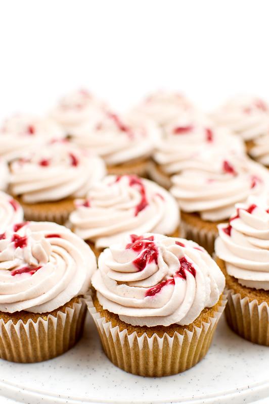 Raspberry cupcakes close