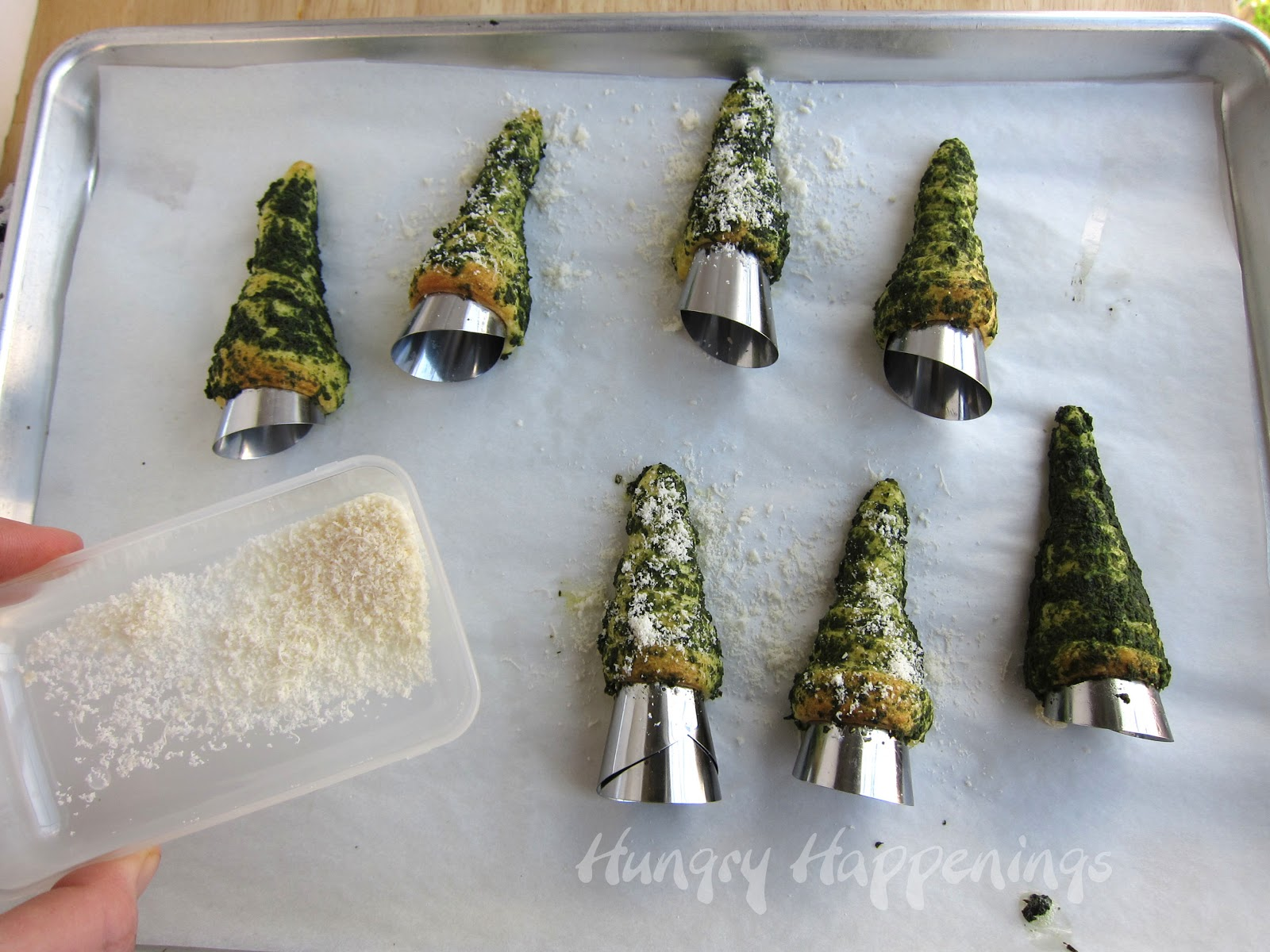 Christmas Tree Appetizer Recipes Part - 32: Sprinkle Parmesan Cheese Over Top Of The Green Pesto Crescent Roll Christmas  Trees