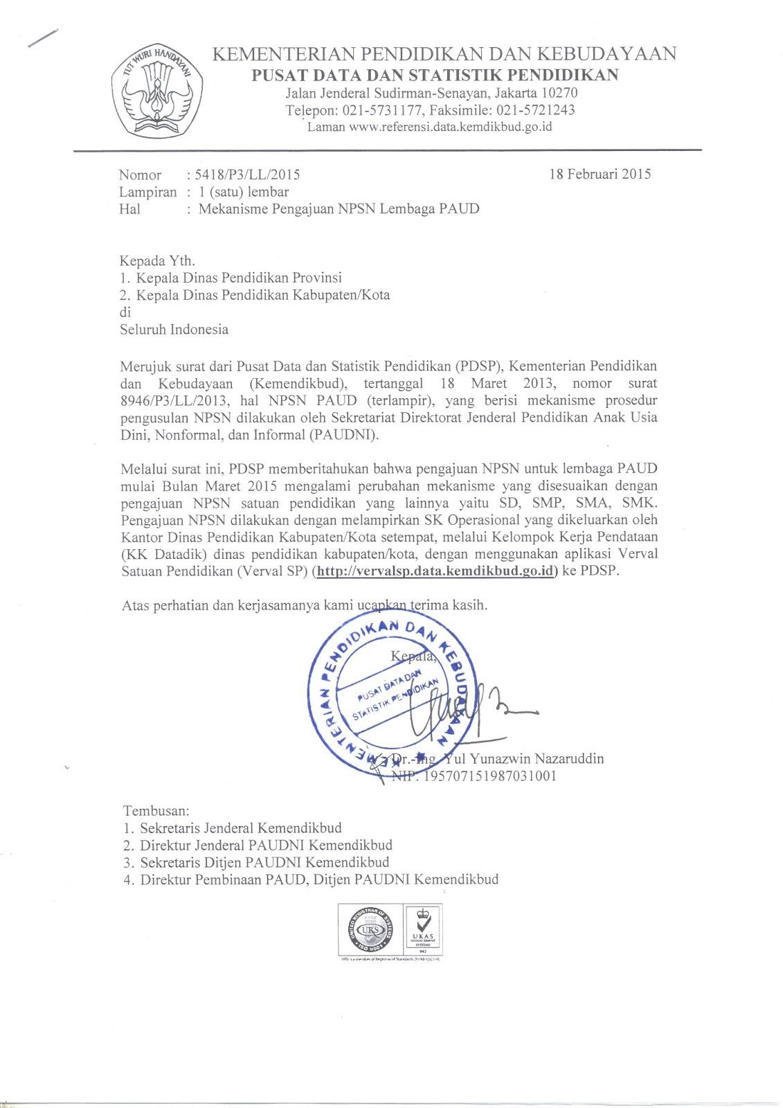 Download Buku Mekanisme Pengajuan Npsn Lembaga Paud Tahun 2015 Wiki Edukasi
