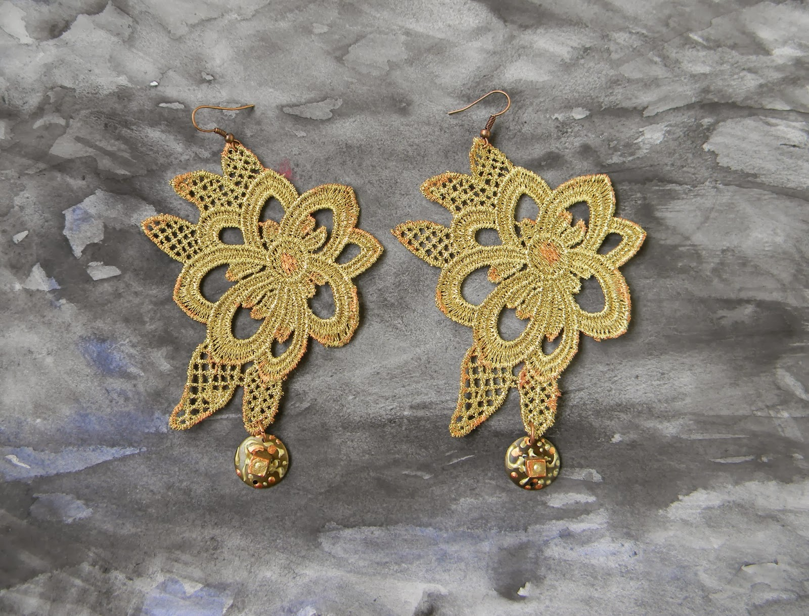 Lace Satement Earrings Golden Metallic Earrings Floral Embroidery Jewelry