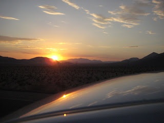Setting sun as I drive home from Las Vegas.