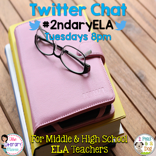 #2ndaryELA Twitter chat for MS/HS English Language Arts Teachers, Tuesdays 8pm EST.