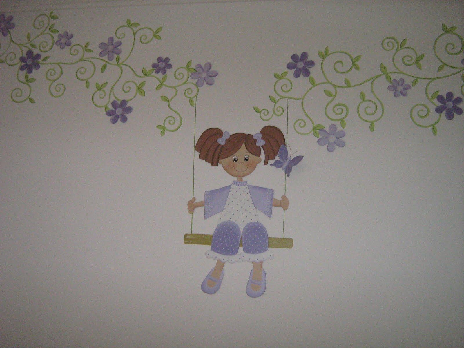 elianeartdecor Quarto de Bebê  Pintura em Patchwork e apliques de boneca e