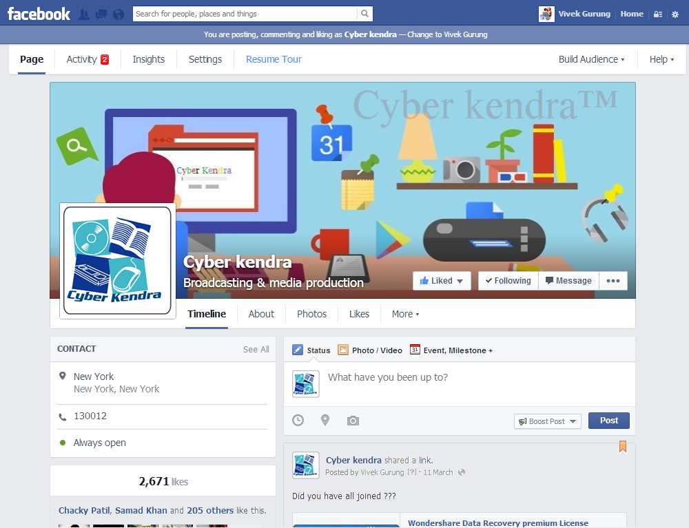 Cyber Kendra facebook page