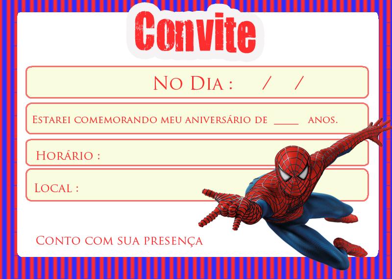 Convite para festa homem aranha