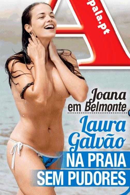 Laura Galvão em topless na praia