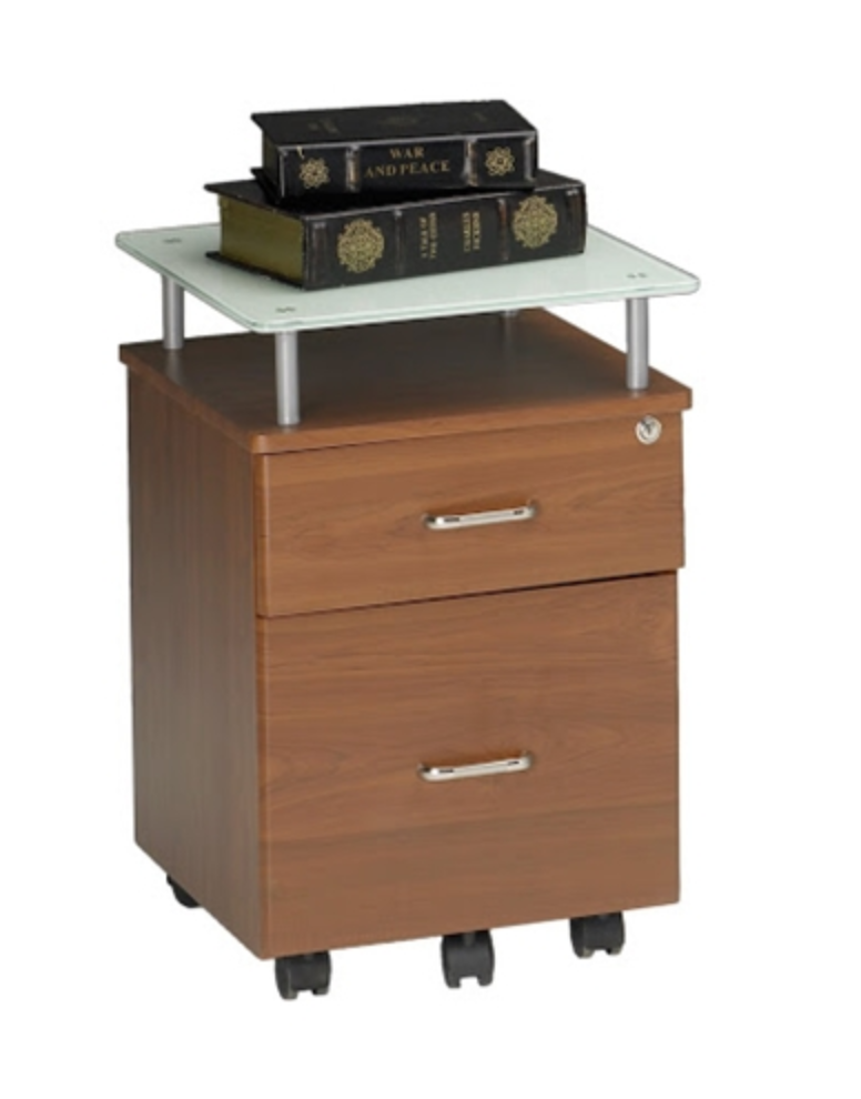Mayline Vision Series Desk Pedestal with Glass Top