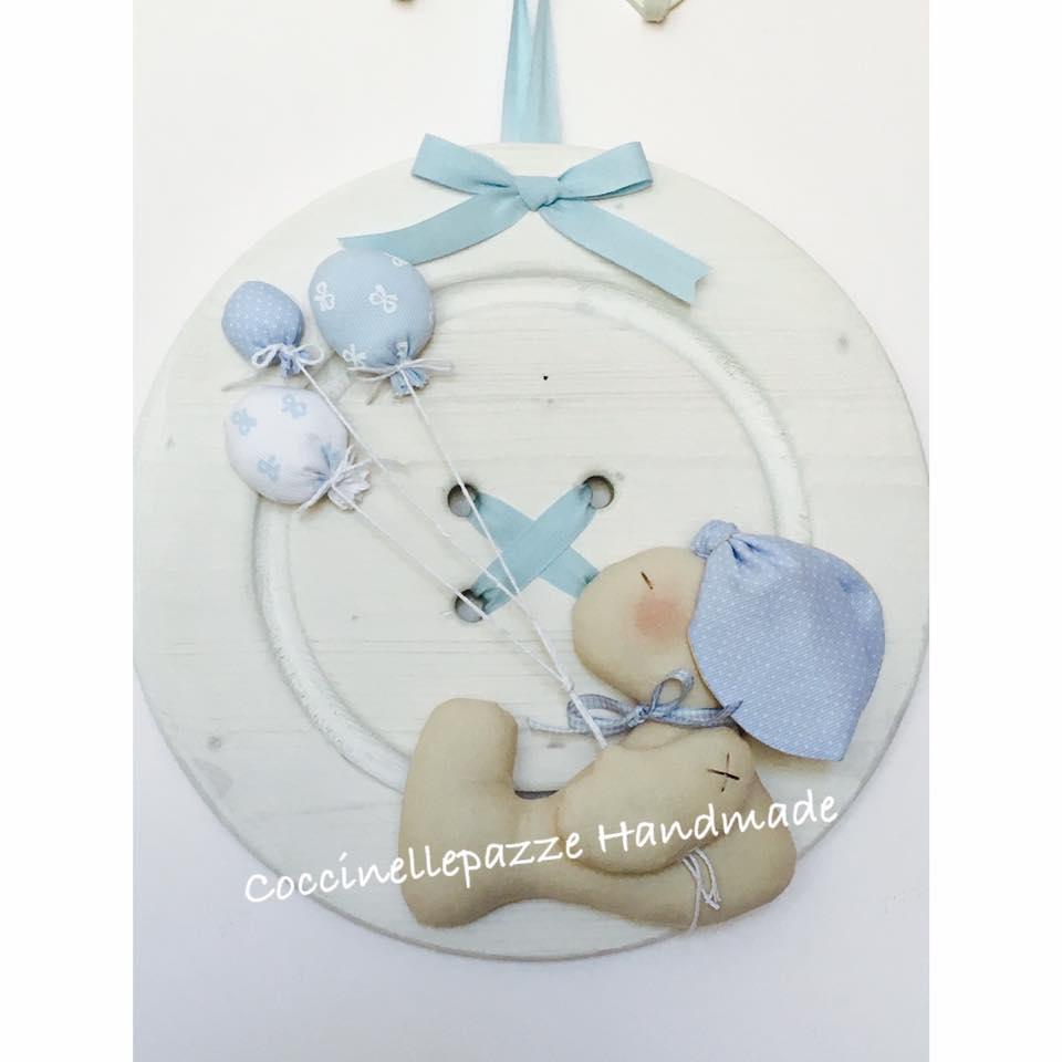 fiocco nascita coniglietto su bottone in legno