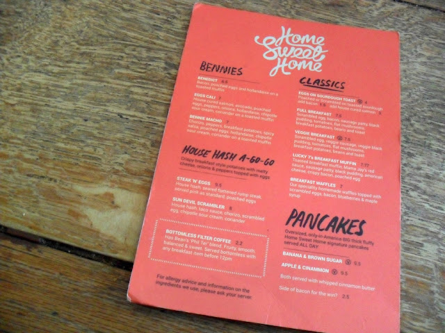 Picture of the breakfast menu at Home Sweet Home Manchester