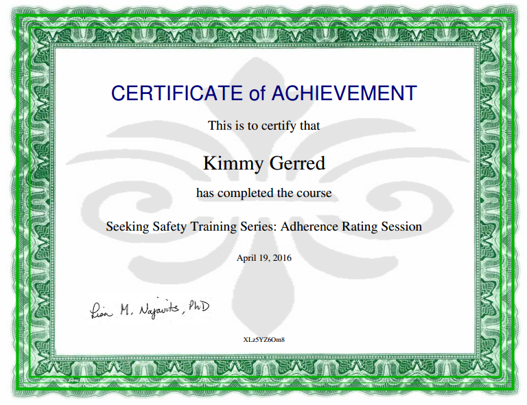 Seeking Safety Certification for PTSD, Trauma & Substance Abuse