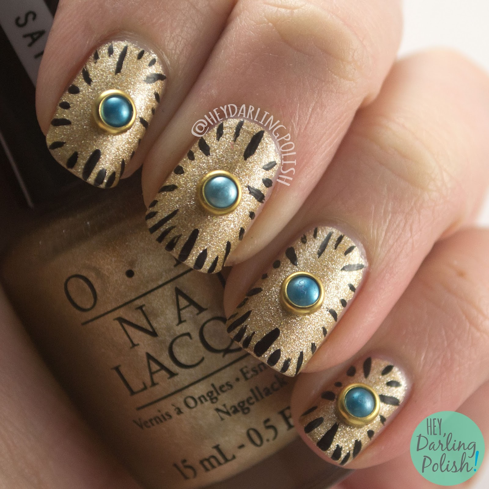 nails, nail art, nail polish, gold, clock, pearl, hey darling polish, nail linkup,
