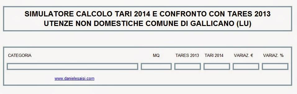 Daniele saisi blog tari 2014 comune di gallicano for Tari utenze non domestiche