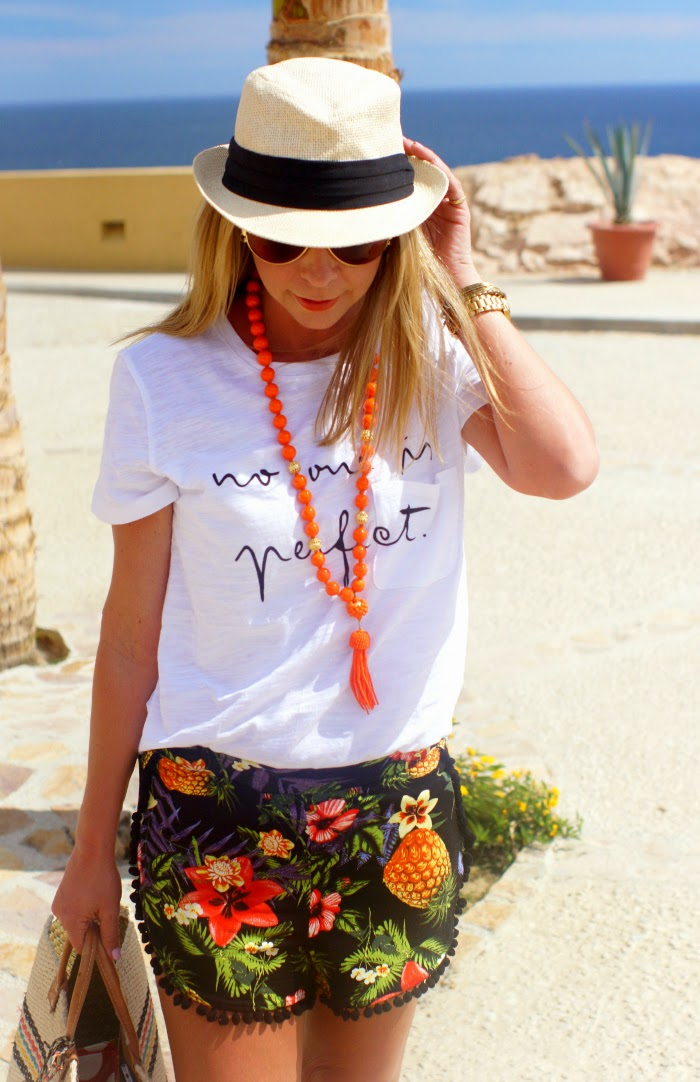 Pom Pom Shorts and Graphic Tee - Casual Beach Style