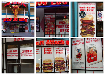 We ate lunch at the Heart Attack Grill. The signs on there were