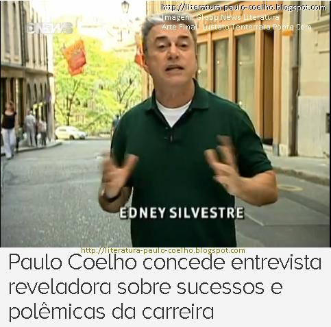 Repórter Edney Silvestre narrando pormenores da entrevista de Paulo Coelho, em Genebra, Suíça, concedida ao programa Globo News Literatura