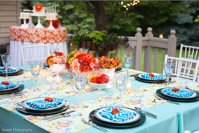 Blue and Orange Table Settings and Dessert Table