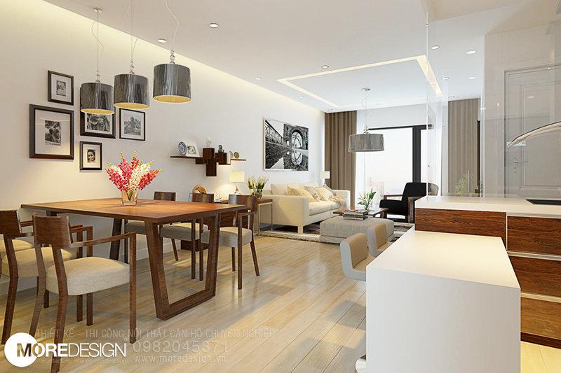 Nội thất căn hộ chung cư ICON56 - Bàn ăn nối liền với phòng khách