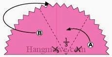 Bước 6: Ta gấp phần giấy B về phía mặt đằng sau, gấp phần giấy A vào trong theo chiều từ phải sang trái.