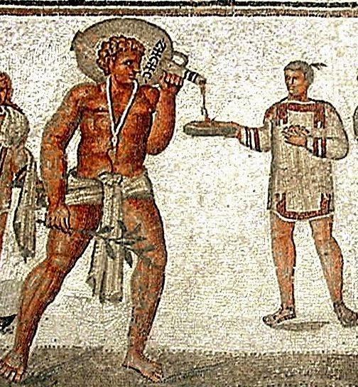 Mosaic of slaves serving at a banquet