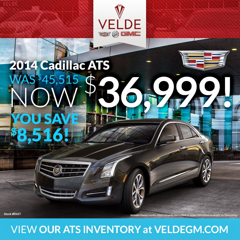 HUGE Savings on 2014 Cadillacs at Velde Cadillac Buick GMC!