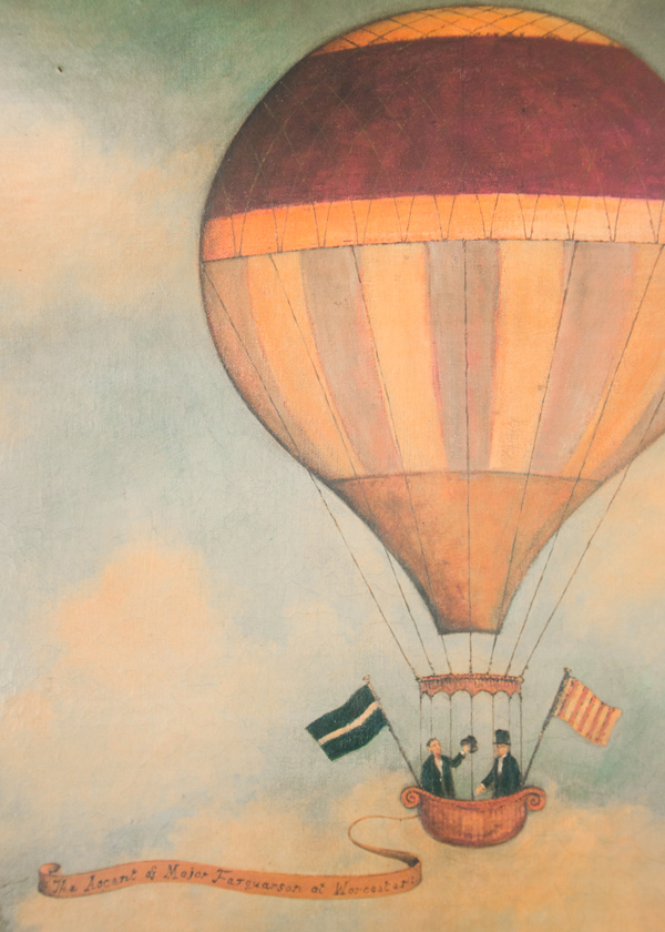 Vintage hot air balloon painting from a car boot sale