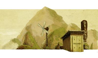 Illustration cabane sur la route