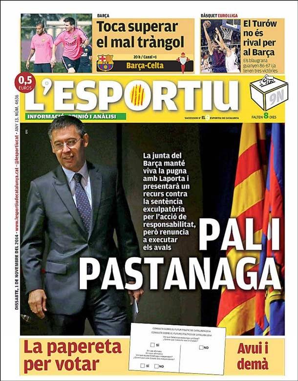 Portada L´Esportiu (1/11/2014)