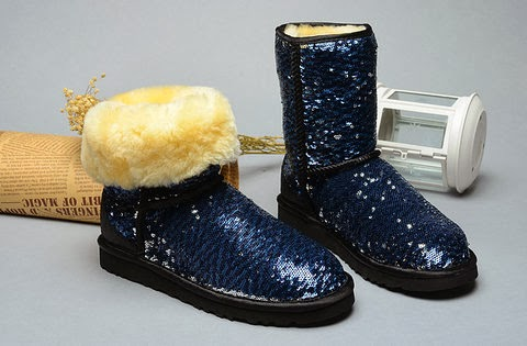 Well , on our store ,there have three kind colors ugg blue sequin . The surface of these ugg sparkle blue is skinny ,looks fashion and luxury .