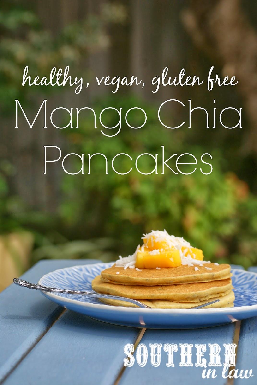 Vegan Mango Chia Pancakes Recipe - gluten free, low fat, sugar free, clean eating friendly, healthy