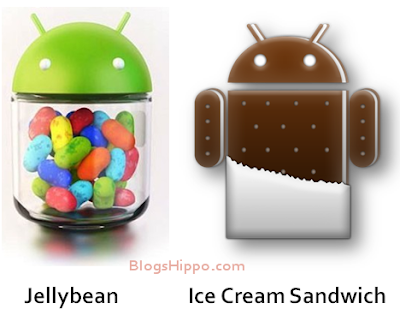 Compare Jellybean vs ICS androi 4.0