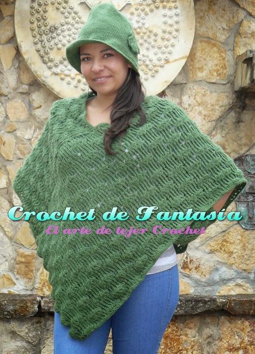 Crochet, ganchillo, poncho, chal, asimétrico, gorro, guantes, verde,
