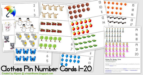 Preschool math and Kindergarten math should be fun and hands on. These bright and colorful clothes pin number cards are perfect for helping your student master number recognition from 1-20. Get your free printable and easily print your own set or pin now and print later.