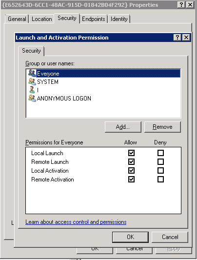 com server application with clsid error