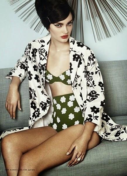 Michael Kors SS 2014 Editorial: Little White Flowers On Green Retro High Waisted Bikini
