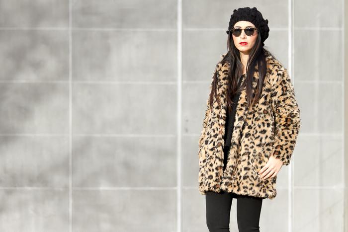 abrigo de peluche de leopardo