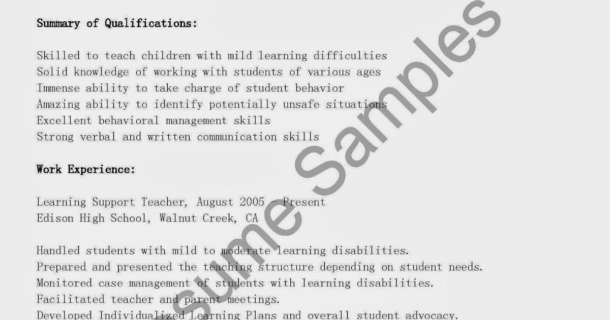 Resume learning support teacher